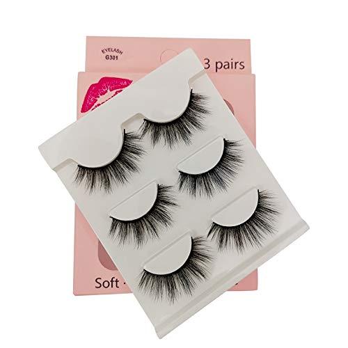 SHIDISHANGPIN 3 paires de cils Cils naturels 3D Essential Beauty Essentials Fluffy Faux Cils Maquillage Professionnel Épais Faux-Cils Réutilisables Fabriqués à la Main # G301
