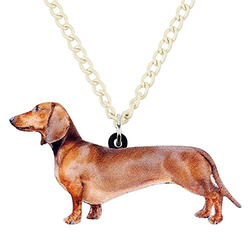 XAOQW Acrílico de pie Dachshund Collar de Perro Cadena Colgante Collar Divertido joyería Animal para Las Mujeres niñas Amantes de Las Mascotas
