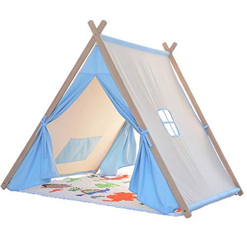 LY Kids Play Tentes Tente for Enfants Game House Indoor Princesse Fille 2-12 Ans Bébé Jouet House Solide Lecture Coin en Bois Dormir Cadeau d'anniversaire (Couleur : Bleu)