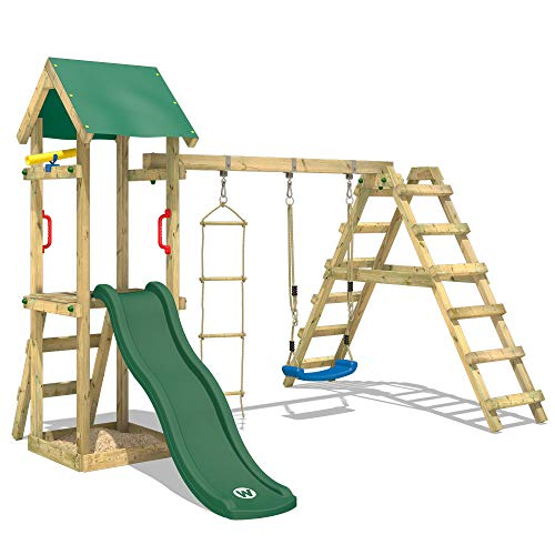 WICKEY Wooden Climbing Frame TinyLoft with Swing Set and Green Slide,...
