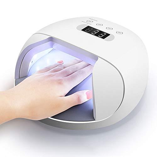 Intelligente nagellamp, 48 W nageldroger voor gellak LED UV sneldrogende nageldroger met digitaal display 4 timers afneembare bodemplaat