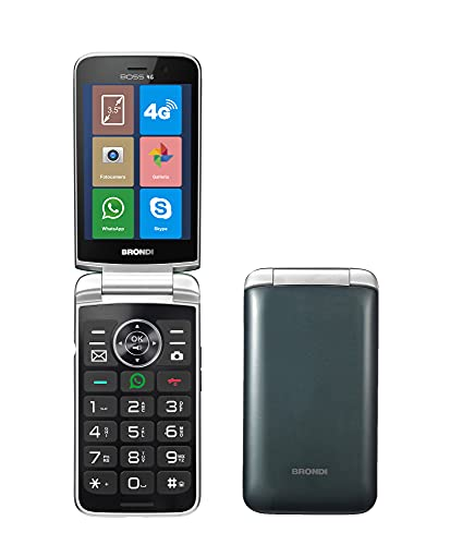 Brondi BOSS 4G Telefono Cellulare Maxi Display, Tastiera Fisica Retroilluminata, Dual Sim, 5 MP, Li-ion 1500 mAh, Flip Attivo,Type-c, Social Network, Verde