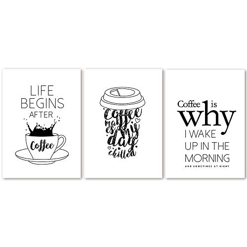 IGZAKER Life Begins After Coffee Quotes Canvas Prints Koffie Alfabet Zwart-wit Muur Foto Cafe Shop Poster Wall Art Decor-50x75cmx3pcs geen frame