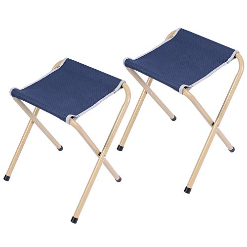 REDCAMP 2-Pack Folding Camp Stools for Adults, 15-inch Tall Sturdy Heavy Duty Portable Camping Stools for Fishing Sitting, Hold 300lbs Heavy People and Kids, Gray Blue (Blue-2 Pack)