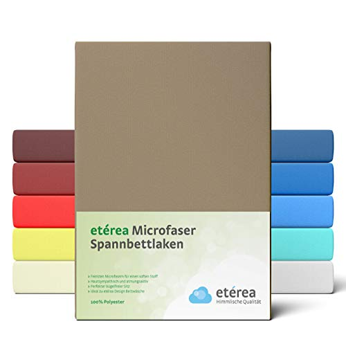 #2 Etérea Classic Microfaser Interlock Kinder-Spannbettlaken, Spannbetttuch, Bettlaken, 60x120 - 70x140 cm, Mocca