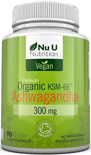 Ashwanghanda Organic Vegan 300mg Capsules | 90 Capsules - 3 Month's Supply | Certified Organic Ashwagandha KSM-66 by The Soil Association | Ayurvedic Withania Somnifera | Made in The UK