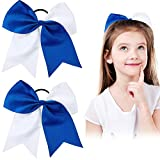 2 Packs Jumbo Cheerleading Bow 8 Inch Cheer Hair Bows Large Cheerleading Hair Bows with Ponytail Holder for Teen Girls Softball Cheerleader Outfit Uniform (Blue and White)