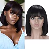 12 Inch Short Bob Wigs Brazilian Straight Human Hair Wigs With Bangs 100% Virgin Human Hair Wigs 150% Density None Lace Front Wigs Glueless Machine Made Wigs For black Women