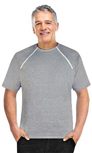 Comfy Chemo CHEMOWEAR : Men's Short Sleeve Chemotherapy Shirt (Gray, XX-Large)