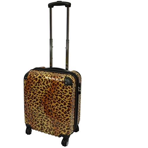 For Sale! Girls Brown Leopard Themed Wheeled Upright Rolling Suitcase, Beautiful Exotic Wild Zoo Saf...