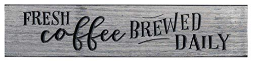 The Dancing Firefly - Fresh Coffee Brewed Daily, (16' X 3.5') - Made in USA - Primitive Gray and Black Home Decor Signs