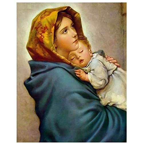 5D Diamond Drawing Diy Full Diamond Diy Virgin Mary And Children S Picture Diamond Embroidery Rhinestone Artwork(40 * 50CM)