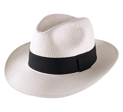 Classic Italy - Chapeau Panama Paille - 3 Coloris - Homme ou Femme Classic Paille Large - Taille 59 cm - Blanc