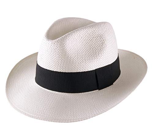 Classic Italy - Chapeau Panama Paille - 2 Coloris - Homme ou Femme Classic Paille Large - Taille 54 cm - Blanc