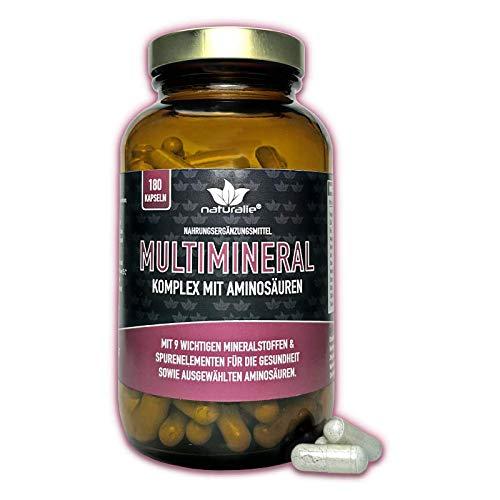 Multimineral Komplex mit 9 wichtigen Mineralstoffen/Spurenelementen - laborgeprüfte Markenqualität - optimierte Bioverfügbarkeit dank Aminsoäuren - 180 Kapseln im GLAS - BPA frei