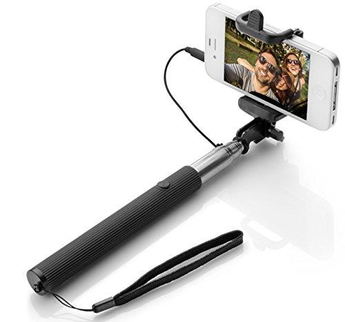 Wpro Selfiestick 3 Farben – Kabel – Teleskopstab |Zubehör|Fotos |Stick – Stab |iOS 5.0 Android OS 4.0 | schwarz Selfie Stick mit Auslöser für Alle Handys 2017 [Verstellbare Länge 22cm - 100cm ]