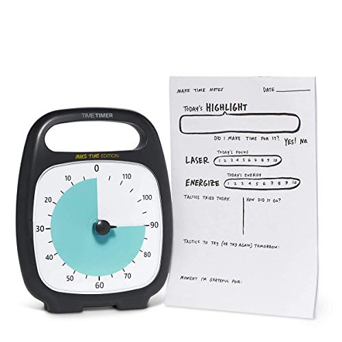 Time Timer Plus 120 Minute Visual Countdown Clock Make Time Edition with Notepad — for Kids Classroom Learning, Teaching Curriculum, Exercise and Kitchen Timer