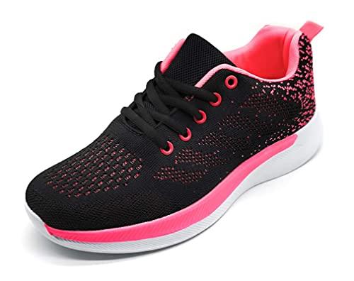 Zapatillas Deportivas Mujer Running Ligero Malla Transpirable con Cordones Zapatillas de Deporte para Mujeres Fitness Correr Atletismo Caminar Andar Gimnasia Negro 37