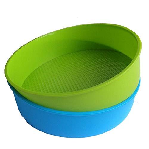 DIVISTAR Molde de Silicona para Hornear Bandeja para Hornear Redonda y Redonda de 26 cm / 10 Pulgadas Azul y Verde, Color Aleatorio