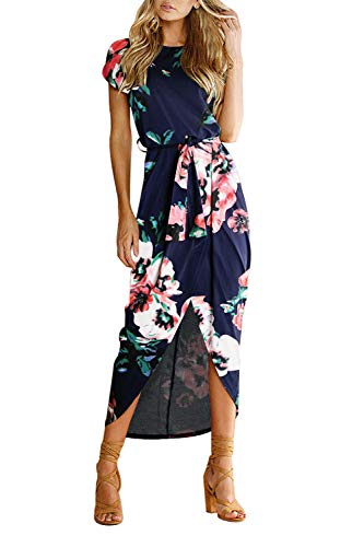 Yidarton Women's Casual Short Sleeve Slit Solid Party Summer Long Maxi Dress (Medium, F-Navy)