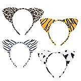 LANMOK 4 Pcs Serre-tête Animaux Mignon Bandeau Animal Jungle Oreille Cheveux Enfants Imprimé Oreilles de Tigre Vache Cosplay Rôle Jouer Costumée Déguisement Décoration pour Enfants Adultes