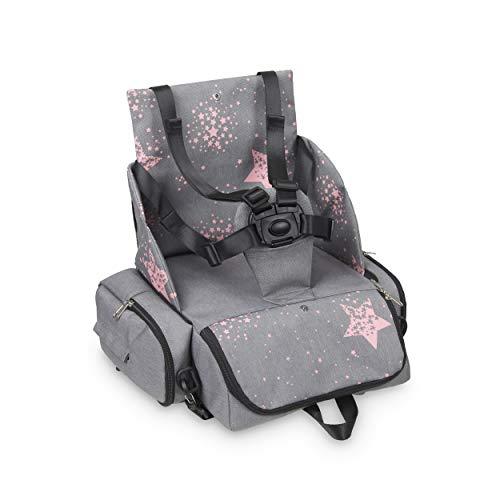 Innovaciones MS 1333 - Booster Bag Stars - Trona De Viaje Portátil, Asiento De Bebés Blando Y Acolchado, Portátil. Convertible En Mochila 2 En 1, niñas, Rosa