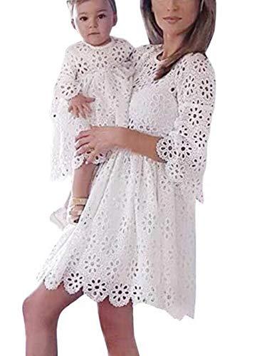 Loalirando Schönes Mutter Tochter Kleider Matching Outfits Familien Kleidung Spitzen Prinzessin Kleid (Mutter, L)