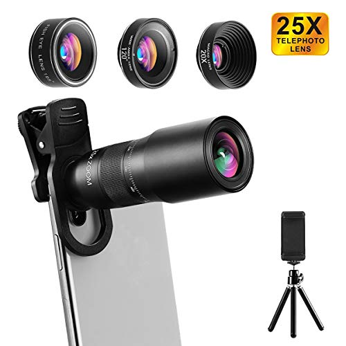 Phone Camera Lens, CESCOM 9 in 1 Cell Phone Camera Lens Kits, 25X Telephoto Zoom Lens, 20X Macro Lens, 120° Wide Angle Lens, 198° Fisheye Lens for iPhone 11 Pro/X/XR/XS Max/8+/7, Google and Android.