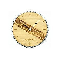 Resource Revival - Time to Ride Clock - 7.25-Inch Bike Themed Wall Clock - Made from Recycled Bike Chain and Bamboo