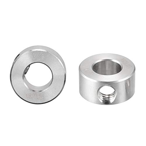sourcing map Drill Stop 3/8' I.D. Stainless Steel for Set Screws Chuck Woodworking Drill Bits Depth Holder 2Pcs