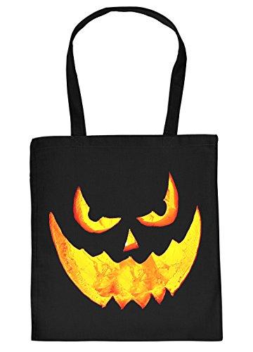 Halloween Tasche - Coole Tragetasche für Süßigkeiten : Halloween Pumpkin - Baumwolltasche Grusel Gesicht Kürbis - Farbe: Schwarz