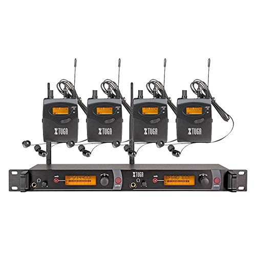 XTUGA RW2080 Rocket Audio Whole Metal Wireless in Ear Monitor System 2 Channel 4 Bodypack Monitoring with in Earphone Wireless Type Used for Stage or Studio