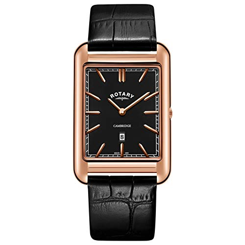 Rotary heren Cambridge Rose Gold vierkant horloge zwart lederen armband GS05284/04