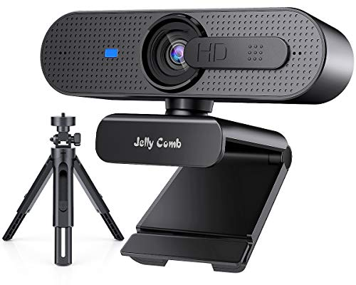 2021 Upgrade Autofocus Webcam with Dual Microphone,Jelly Comb 1080P HD Streaming Web Camera, USB Computer Webcam for PC/Mac/Laptop/Desktop, Zoom YouTube Skype, Calling Conferencing Gaming (Black)