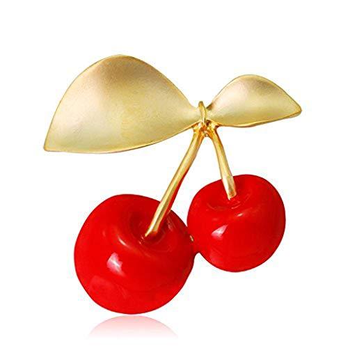 DAGONGREN Broche Rojo Cereza de la Moda, Las señoras de la aleación de joyería Elegante del Bolso del Vestido de la Broche de la decoración de Pin