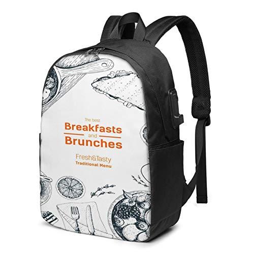 Laptop Backpack with USB Port Brunch Breakfasts Top View Food, Business Travel Bag, College School Computer Rucksack Bag for Men Women 17 Inch Laptop Notebook