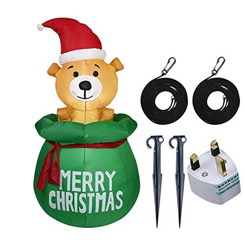 Eariy Weihnachtsdekoration Figur aufblasbarer Bär Modell 150 cm, aufblasbare LED-Lichter Bär Modell Hofdekoration, für Urlaub drinnen und draußen, Hof, Rasen, Garten, Foto-Requisite