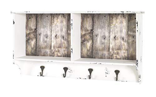 HAKU Möbel Wandgarderobe, MDF, weiß gewischt-Vintage, 15 x 76 x 40