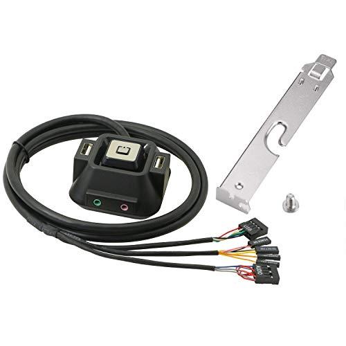 Interruptor de Carcasa de Ordenador de sobremesa, Interruptor de botón de reinicio del Disco Duro con Puertos USB duales, botón de Encendido