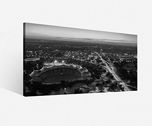 Leinwand 1Tlg München schwarz weiß Skyline Stadt Bild Bilder Leinwandbild 9H065, 1 Tlg BxH:80x40cm