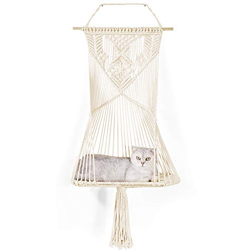LIFIS Macrame Cat Hammock Bed Decorative Macrame Wall Hanging Shelf Home Decoration for Storage 19.7' W x 39' L