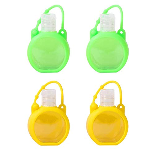 Empty Travel Bottle Hand Sanitizer Holder with Silicone Case Keychain Keyring Leak Proof, 30ml Plastic Squeeze Bottles Portable Refillable Reusable Travel Bottles (4PACK, Green+Yellow)