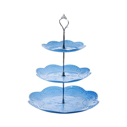 Fettion 3 Tier Dessert Stand Fruit Plate Cup Cakes Desserts Fruits Candy Buffet Serving Tray Food Display for Wedding Baby Shower Home Birthday Tea Party Decoration (Roud Tray, Blue)