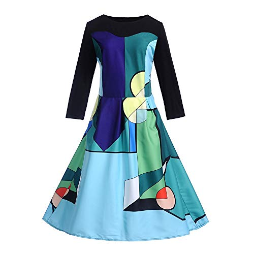LEXUPE Frauen Vintage Langarm O Neck Abend Druck Party Prom Swing Kleid(K-Blau,Large)