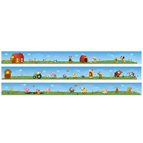 Wandkings Bordüre - Wähle ein Motiv - Großer Bauernhof - 3x selbstklebende Wandbordüren je 150 cm - Gesamtlänge: 450 cm - Höhe: 12,5 cm