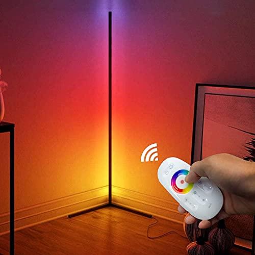 Lámpara de pie de Esquina LED Decoración de Sala de Estar Luz de Piso Colorida Lámpara de pie Nordic RGB con Control Remoto para la decoración de la habitación de los niños