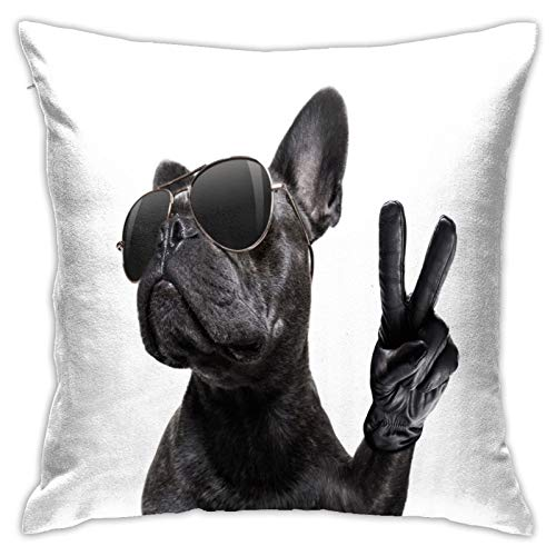 Antvinoler French Bulldog Throw Pillow Covers Decorative Couch Pillow Cases Cotton Pillow Square Cushion Cover for Sofa, Couch, Bed and Car 18 X 18 Inches
