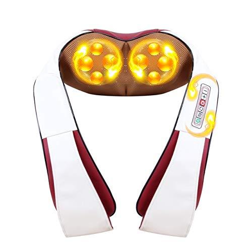 HEQIE-YONGP Calefacción eléctrica masajeador Cuello KneadingTherapy Dolor de Hombro Volver Massageador Relax Regalos para Mujeres y Hombres. (Color : Red)