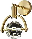 Lámpara de pared LED de cobre con bola de cristal multifacética, Aplique de pared interior, Lámpara de espejo, Decoración del hogar, Aplique de pared de cabecera de dormitorio, Sala de estar, Pasillo