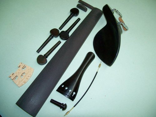 A 4/4 Violin Set of Ebony Parts: Guarneri, French Pegs, End Pin, Tailpiece, Bridge Nut/Saddle, Gut VWWS